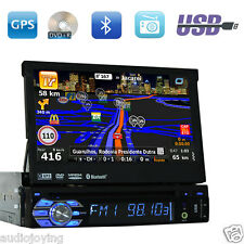 "Touchscreen Single 1Din In Dash Car Stereo GPS 7"" HD DVD Player Bluetooth Radio"