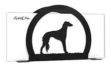 Swen Products Saluki Dog Black Metal Letter Napkin Card Holder