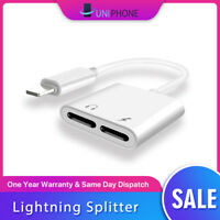 Dual Lightning Splitter Adapter Double Headphone Charge For iPhone 7 Plus 8 X