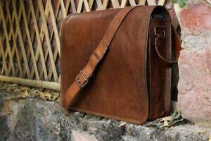 """15"""" Vintage Brown Leather Messenger Laptop Satchel Shoulder Military Bag"""