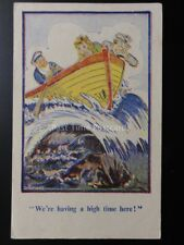 """Diamond: Comic PC Boat on Sea Wave """"WE'RE HAVING A HIGH TIME HERE!"""" by Garland"""