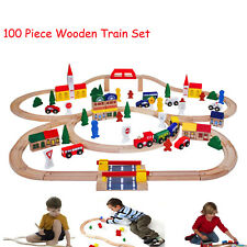 G4RCE 100 Piece Wooden Train Set Railway Childrens Large Play Set Railway Track