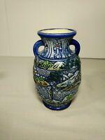 "Vintage Japanese Blue Vase 6.5"""