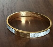 Michael Kors Bangle Plaque Chunky Gold Bangle Bracelet w/ a pouch