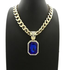 """Hip Hop Iced Colorful Gemstone Pendant & 11mm 18"""" Cuban Choker Chain Necklace"""