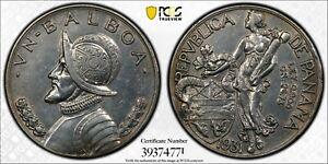 1931 PANAMA BALBOA SILVER UN VN $1 DOLLAR PCGS AU DET GOLD SHIELD TRUE VIEW COIN