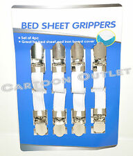 BED SHEET GRIPPERS SUSPENGERS ELASTIC FASTNERS GARTER 4PC  FOR BED SHEETS