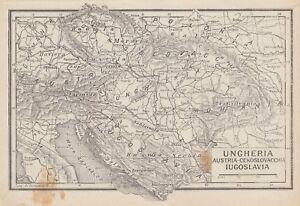 C2724 Ungheria - Jugoslavia - Austria - Carta geografica d'epoca - 1936 old map
