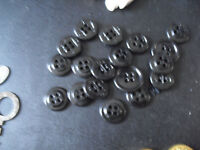 Lot of Vintage Black Plasic US Navy Uniform Clothes Buttons 5/8 3/4 Inches