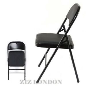 New Metal Folding Chair Foldable Computer Desk Office Party Back Rest Chairs UK