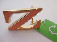 C. Wonder Gold Initial Belt Buckle NWT $38 ORANGE ENAMEL Z