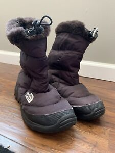 The North Face Nuptse Bootie Snow Winter Sz 9 W Faux Fur Trim Goose Down Brown