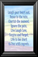 WALL ART A4 POSTER  INSPIRATIONAL QUOTES Laugh Your Heart Out Perfect Gift
