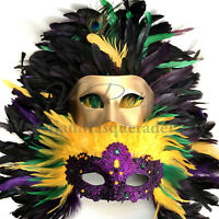 Mardi Gras Carnival Masquerade Feather Headpiece mask Cosplay Costume Parade NEW