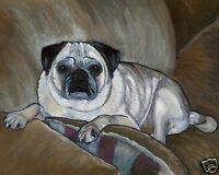 FAWN /& BLACK PUG HOLIDAY XMas Signed Dog Pop Art PRINT of Original Painting VERN