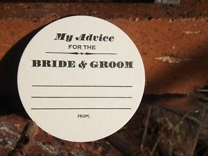 My Advice for the Bride & Groom WEDDING COASTERS, LETTERPRESS X 100 Round