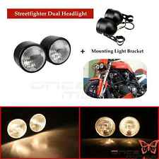 Universal Black Dual Twin Headlight Ptojector Headlamp For Dual sport Motorcycle