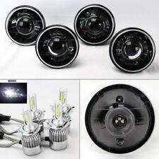 "FOUR 5.75"" 5 3/4 Round H4 Blk/Chm Projector Headlights w/ 36W LED H4 Bulbs Mercu"