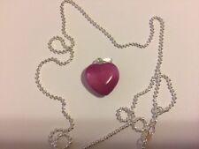 Natural Quartz Crystal Semiprecious Stone HEART Pendant + chain Purple