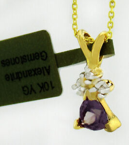 ALEXANDRITE 0.56 Cts & DIAMONDS PENDANT 10k GOLD* NEW WITH TAG