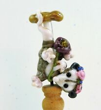 New listing Spring Opossum, Lampwork Bead Blue Mountain Magic
