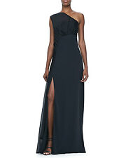 Halston Heritage Dress One Shoulder Grecian Formal Full Length Maxi Gown
