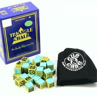 12 Pieces Green KING TRIANGLE Snooker & Pool Chalk & Cotton Drawstring Bag