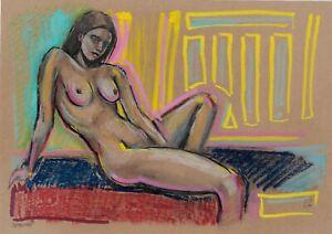 original drawing A4 256VE art samovar Pastel modern female nude Signed