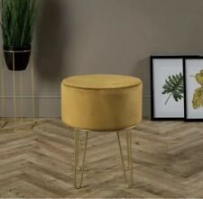 Ports of Call: Jeff Banks Soft Velvet Footstool Mustard Luxury Living Room Chair