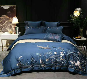 Embroidered Blue Crane Duvet Cover Bedding Set Egyptian Cotton Bed Set 4/7pcs