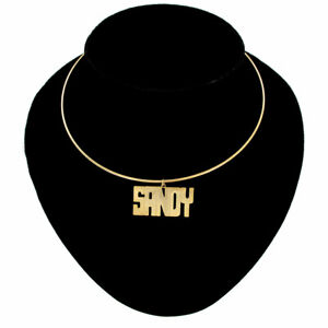"""Sandy Name Jewelry Choker Gold Tone Bangle Wire Necklace Vintage 15 1/2"""""""
