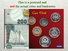 Postcard: Cape Verde Circulating Coins and Currency (Banknote) 2013
