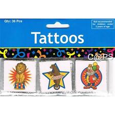 Circus Tattoos  36 PACK  Carnival  Fete   Party Favours  Party Loot Bag Supplies