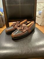 Men's Johnston Murphy Tassel Loafers Size 11.5 Black And Brown Leather