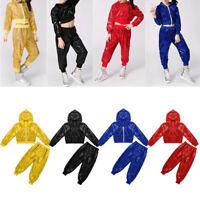 Children Girl Modern Jazz Dance Outfit Kids Sequins Hip Hop Street Dance Costume