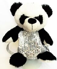 Pack Mates By Kellytoy Black White Panda Grey w Silver Sequins Plush Back Pack