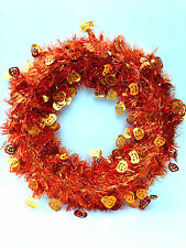 Halloween Pumpkins Wreath Centerpiece Metallic Orange Table Wall Hanging Wire