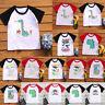 Children Kids Boy Girls Summer Short Sleeve Letter Printed T-shirt Tops Clothes