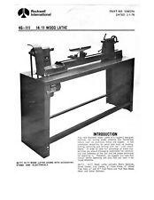 1976 Rockwell 46 111 14 11 Wood Lathe Instruction Maintenance Amp Parts Manual Cd