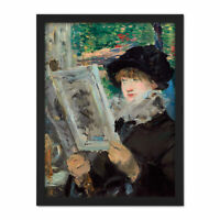 Manet Woman Reading Book Impressionist Painting Large Framed Art Print