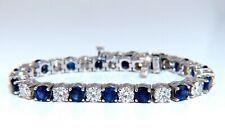 13.48ct natural Vivid royal blue round sapphires diamond bracelet 14 Karat