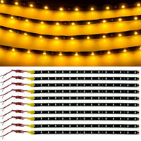 10X 30CM/15 LED Car Motors Truck Flexible Strip Light Waterproof 12V Yellow