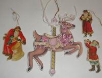 1977 VINTAGE SANTA CLAUS Die Cut FLAT ORNAMENTS LOT Carousel Reindeer merrimack