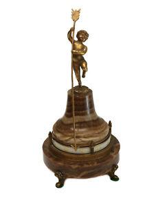 Ateliers Juvenia French Gilt Bronze Putti Onyx Annular Rotary Clock, c1925