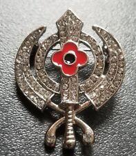 Stunning Diamonte Silver Plated Sikh Rememberance Day Poppy Khanda Brooch Pin