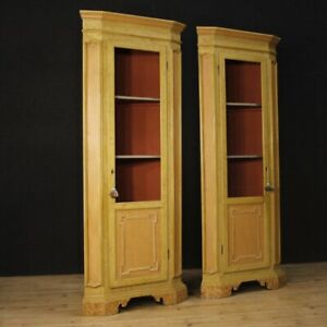 Pair Of 2 Corner Cupboards Wood Painting Furniture Showcase Bookcase