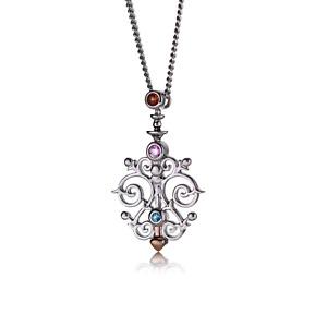 Clogau Silver Pendant Sapphire Garnet Topaz Pink Bohemia 22'' 9ct Rose Welsh Gol