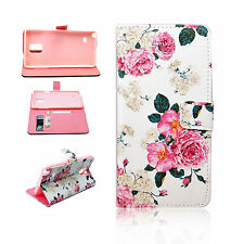 Flower Pattern Leather Flip Wallet Cover Case For Samsung Galaxy Note 4 IV N9100