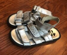 I PINCO PALLINO Girls Silver Gladiator Sandals Size EURO 31/US 13 ITALY Leather