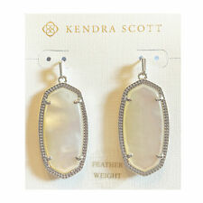 Kendra Scott Elle Dangle Earrings in Ivory and Rhodium Plated